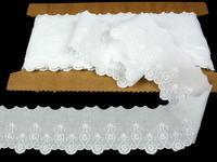 Vyšívaná krajka vzor 65113 bílá | 9,2 m