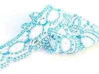 Bobbin lace No. 75032 white/turquoise | 30 m