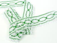 Paličkovaná krajka vzor 75037 bílá/trávová zelená |  30 m