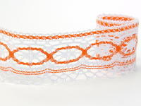 Bobbin lace No. 75037 white/rich orange | 30 m