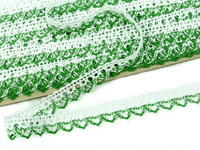 Bobbin lace No. 75087 white/grass green | 30 m