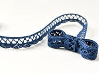 Paličkovaná krajka vzor 75428/75099 mořská modrá | 30 m
