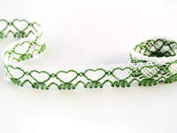 Bobbin lace No. 75133 white/grass green | 30 m