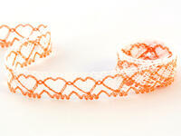 Bobbin lace No. 75133 white/rich orange | 30 m