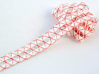 Bobbin lace No. 75169 white/red | 30 m