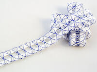 Bobbin lace No. 75169 white/royal blue | 30 m