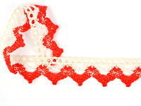 Paličkovaná krajka vzor 75220 režná/červená | 30 m