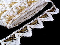 Bobbin lace No. 75221 white/gold lurex | 30 m