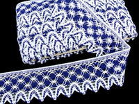 Bobbin lace No. 75293 white/dark blue | 30 m