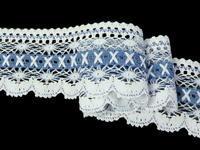 Paličkovaná krajka vzor 75335 bílá/blankytně modrá | 30 m