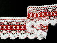 Bobbin lace No. 75335 white/red | 30 m