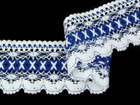 Bobbin lace No. 75335 white/royale blue | 30 m