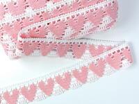 Bobbin lace No. 75438 white/pink | 30 m