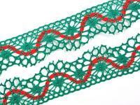 Paličkovaná krajka vzor 82129 světle zelená/červená | 30 m