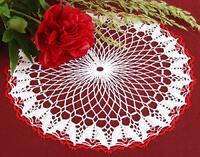 Tablecloth EMILIE white/light red, diameter 34 cm