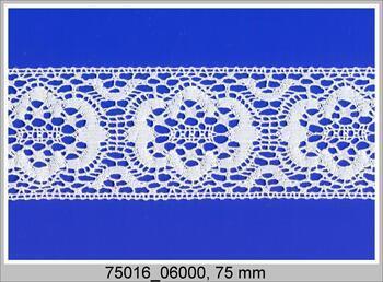 Paličkovaná vsadka 75016 bavlněná, šířka75 mm, bílá