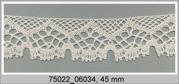 Paličkovaná krajka 75022 bavlněná, šířka45 mm, sv.krémová