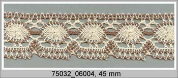 Paličkovaná krajka 75032 bavlněná, šířka45 mm, režná/sv.hnědá