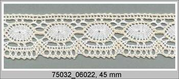 Paličkovaná krajka 75032 bavlněná, šířka45 mm, bílá/režná
