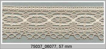 Cotton bobbin lace 75037, width 57 mm, light linen gray/ecru