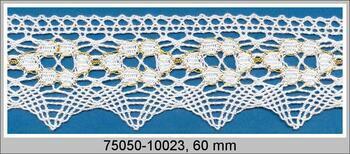 Paličkovaná krajka 75050 bavlněná, šířka60mm, bílá/Lurex zlatý