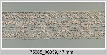 Paličkovaná krajka 75065 bavlněná, šířka47 mm, sv.lněná