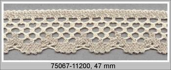 Paličkovaná krajka 75067 bavlněná, šířka47 mm, režná/lněná