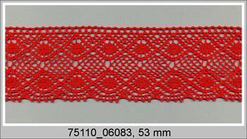 Paličkovaná krajka 75110 bavlněná, šířka53 mm, červená