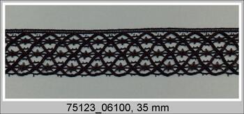 Paličkovaná krajka 75123 bavlněná, šířka35 mm, černá