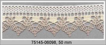 Paličkovaná krajka 75145 bavlněná, šířka50 mm, režná/sv.lněná/bílá