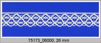 Paličkovaná krajka 75173 bavlněná, šířka26mm, bílá
