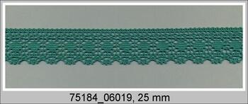 Paličkovaná krajka 75184 bavlněná, šířka25mm, světle zelená