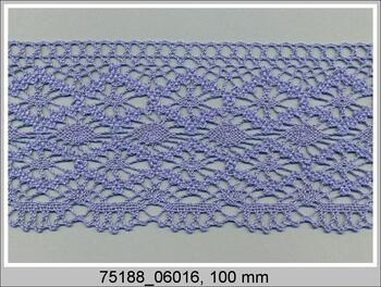 Paličkovaná krajka 75188 bavlněná, šířka100mm, blank.modrá