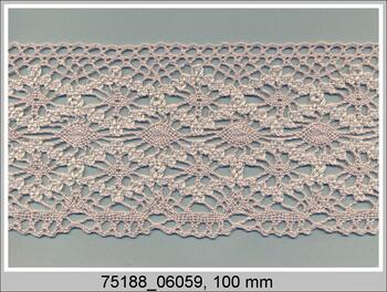 Cotton bobbin lace 75188, width 100 mm, light linen gray