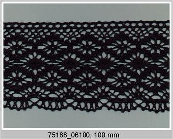 Paličkovaná krajka 75188 bavlněná, šířka100mm, černá