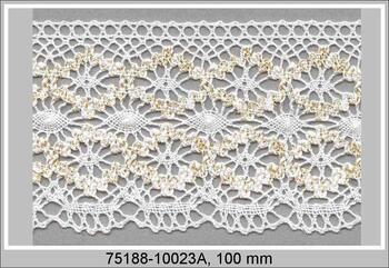 Cotton bobbin lace 75188, width 100 mm, white/Lurex gold