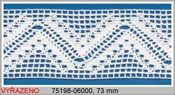 Paličkovaná krajka 75198 bavlněná, šířka73 mm, bílá