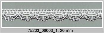 Paličkovaná krajka 75203 bavlněná, šířka 20 mm, bílá/černá