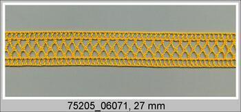Paličkovaná krajka 75205 bavlněná, šířka 27 mm, tmavě žlutá