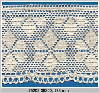 Cotton bobbin lace 75208, width 138 mm, ecru