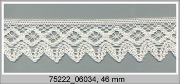 Paličkovaná krajka 75222 bavlněná, šířka 46 mm, sv.krémová