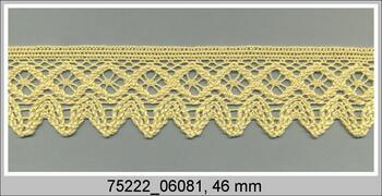 Paličkovaná krajka 75222 bavlněná, šířka 46 mm, sv.žlutá