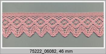 Paličkovaná krajka 75222 bavlněná, šířka 46 mm, růžová