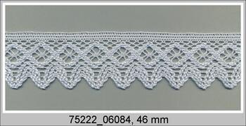 Cotton bobbin lace 75222, width 46 mm, pale blue