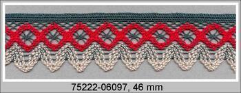 Paličkovaná krajka 75222 bavlněná, šířka 46 mm, tm.zelená/sv.červená/sv.lněná