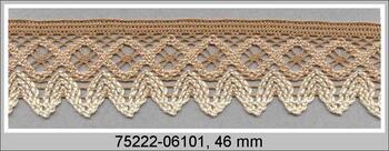 Paličkovaná krajka 75222 bavlněná, šířka 46 mm, čoko./karamel./smetanová