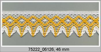 Cotton bobbin lace 75222, width 46 mm, white/dark yellow