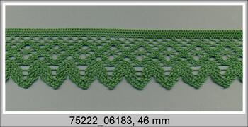 Cotton bobbin lace 75222, width 46 mm, grass green