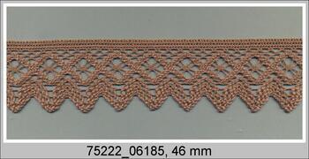 Paličkovaná krajka 75222 bavlněná, šířka 46 mm, tm.béžová