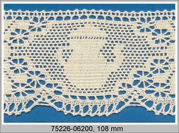 Paličkovaná krajka 75226 bavlněná, šířka 108 mm, režná